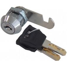 CILINDRO PARA MUEBLE LLAVE REGATA 90° con paleta de gancho cilindro roscado de 2 cm.